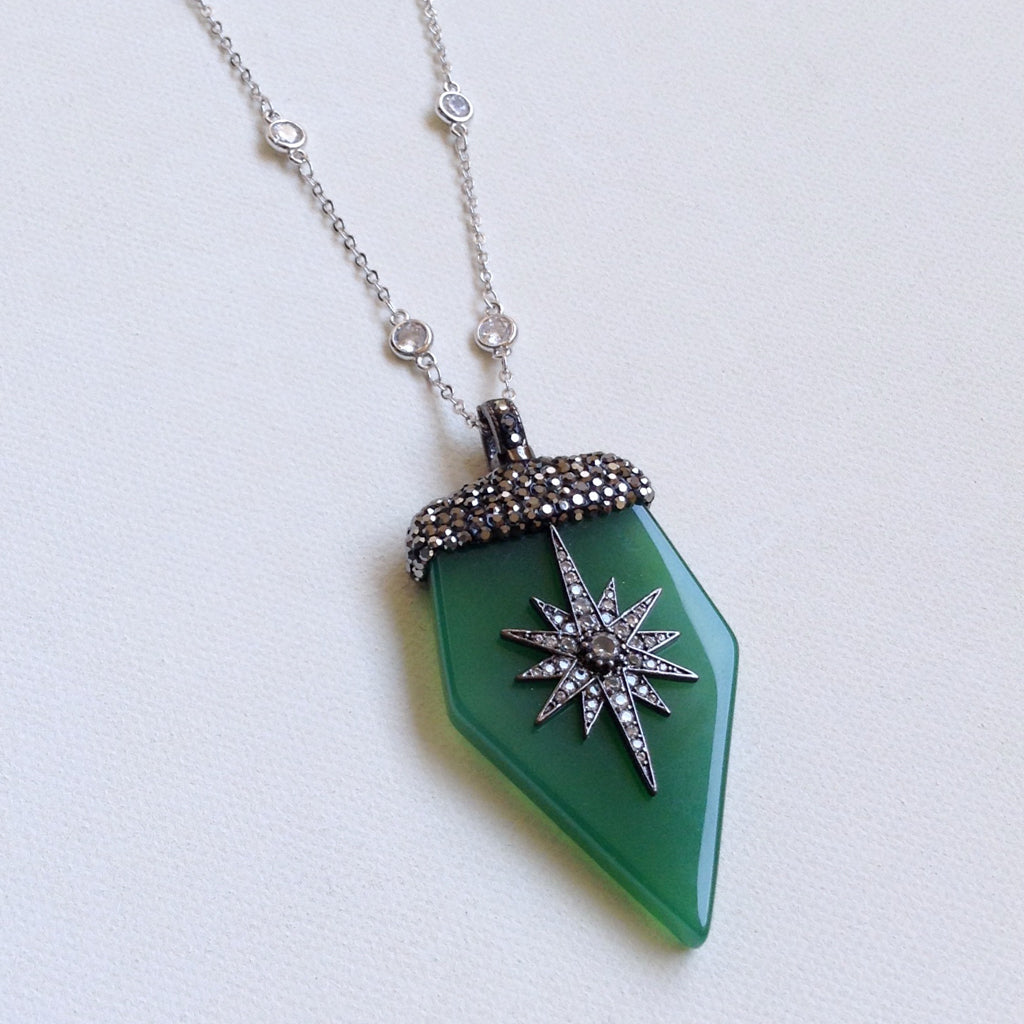 Green Onyx Vintage Inspired Necklace