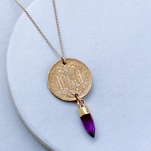 antique vintage spanish coin gold pendant necklace