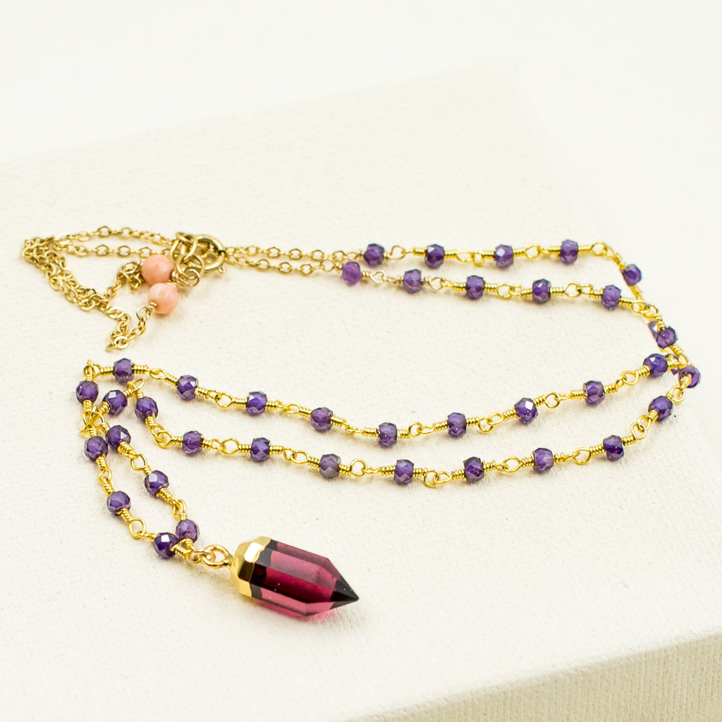 Fuchsia Quartz Pendant with Purple Zircon Necklace