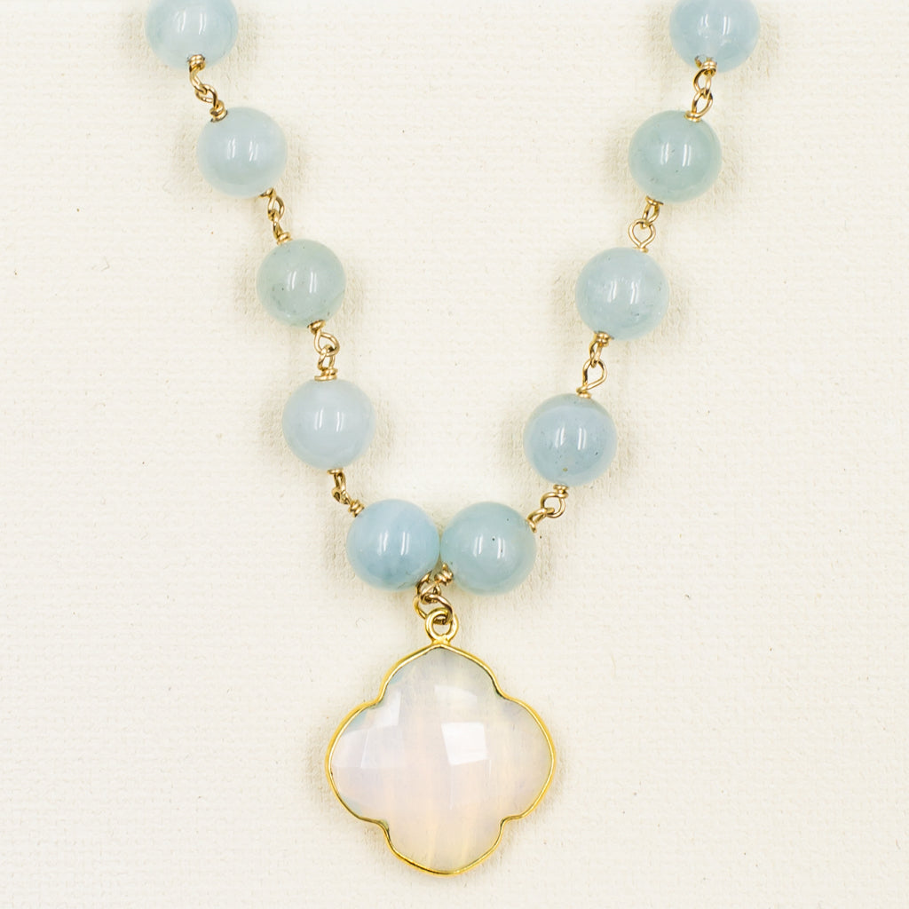 faceted milky white gold chalcedony clover quadrafoil pendant on aquamarine bead classic style necklace