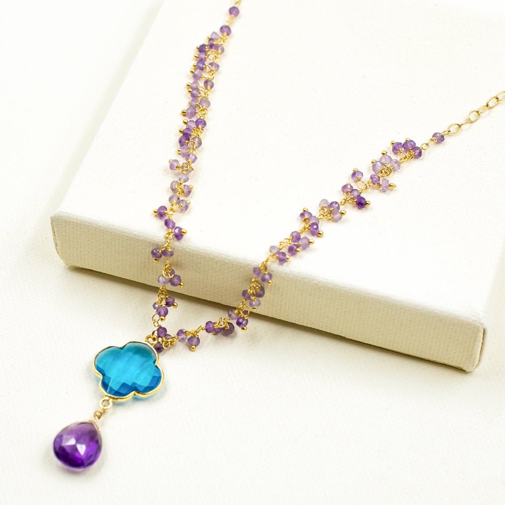 amethyst with cobalt blue clover quadrafoil pendant gold necklace