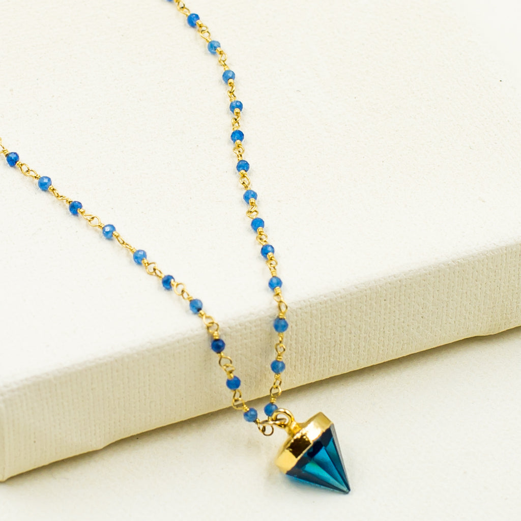 blue quartz onyx poin gold spike pendant trendy layering necklace