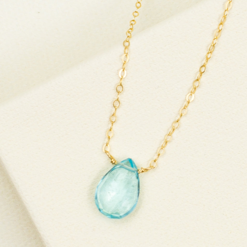 faceted blue quartz stone on gold filled chain necklace