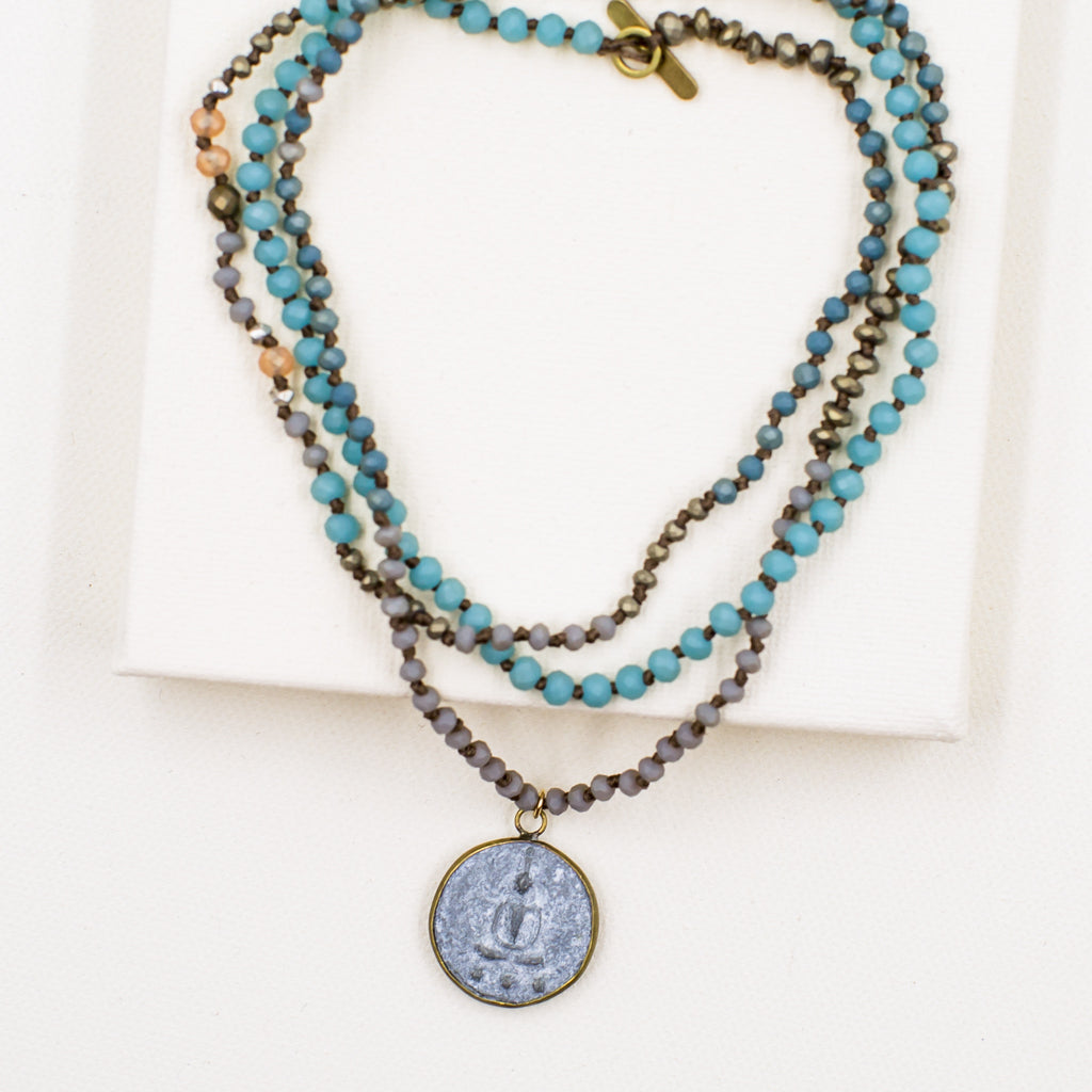 Long Blue Necklace with Meditating Buddha