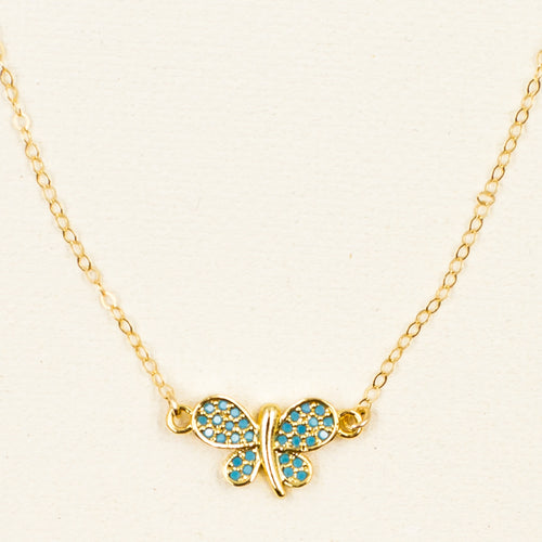 Pretty Blue Butterfly Necklace