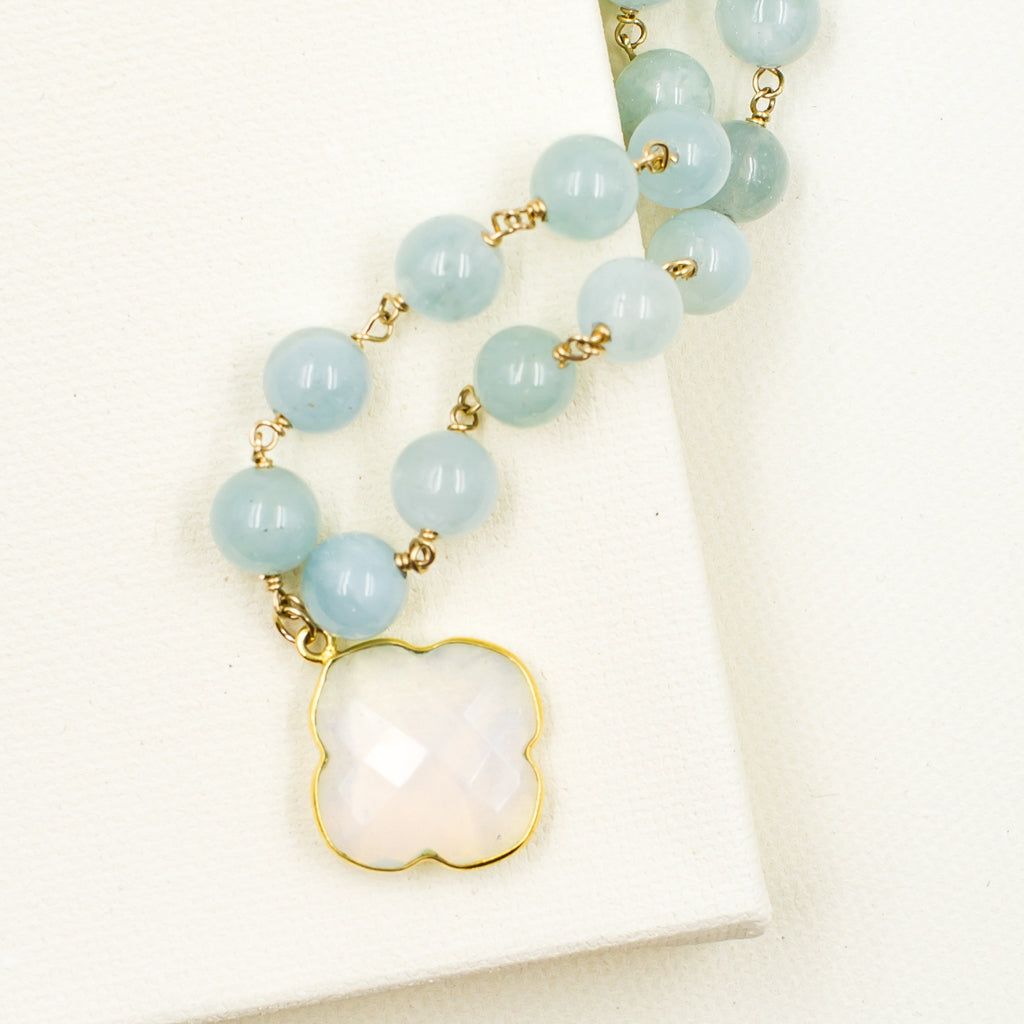 faceted milky white chalcedony clover quadrafoil pendant on aquamarine bead classic style necklace