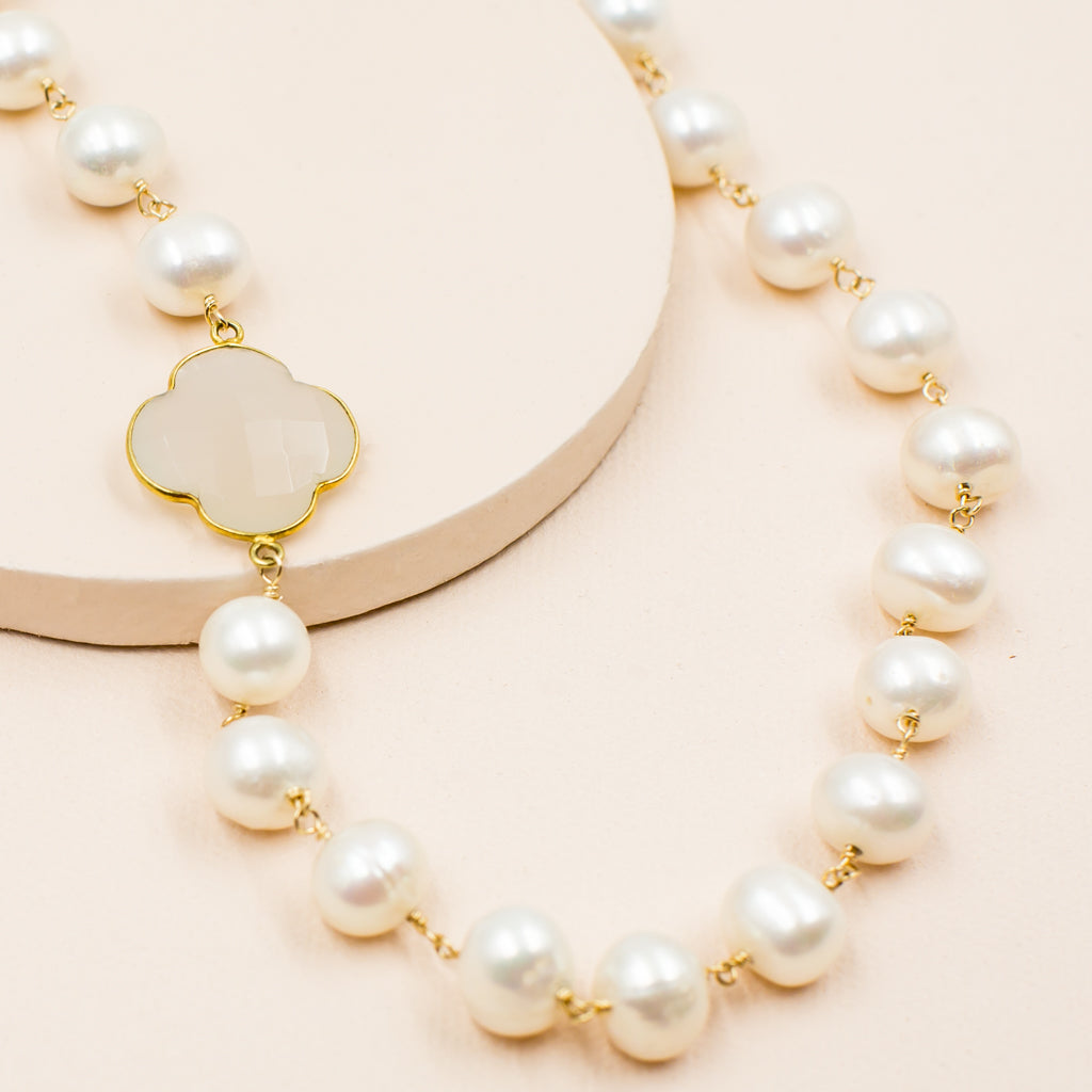faceted milky white chalcedony clover quadrafoil pendant on freshwater white pearl bead classic style necklace
