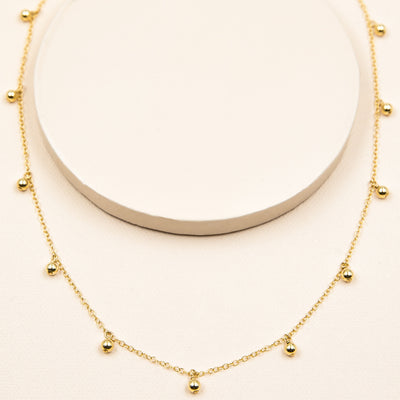 Gold Bead Dangle Necklace