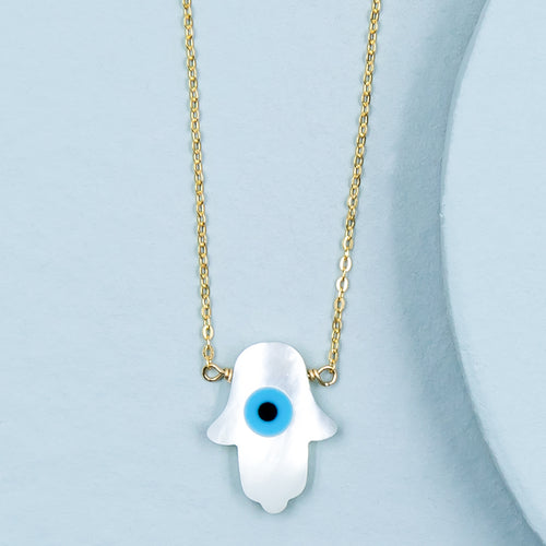Mother of Pearl Hamsa with Eye Necklace