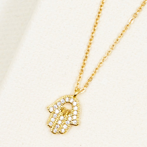 dainty delicate cubic zirconia crystal hamsa gold pendant necklace with chain