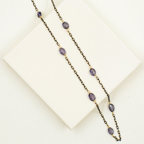 Scattered Iolite on Black & Gold Chain Necklace