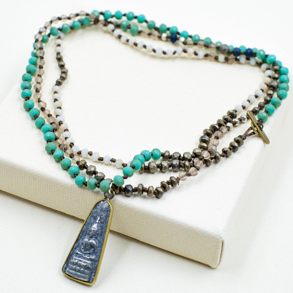 Teal Long Necklace with Meditating Buddha