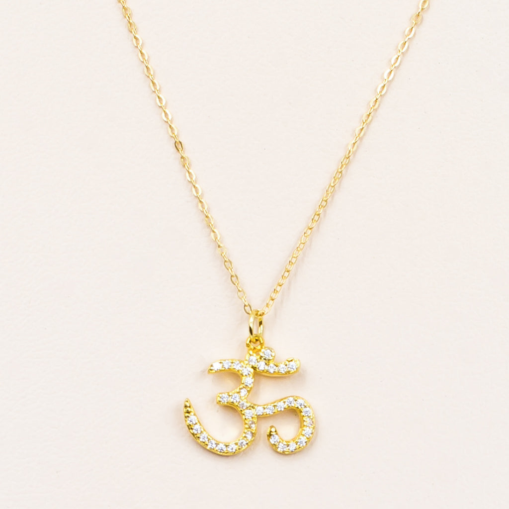 om crystal cubic zirconia gold pendant meditation yoga necklace
