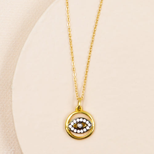 evil eye crystal cubic zirconia protection yoga gold pendant necklace