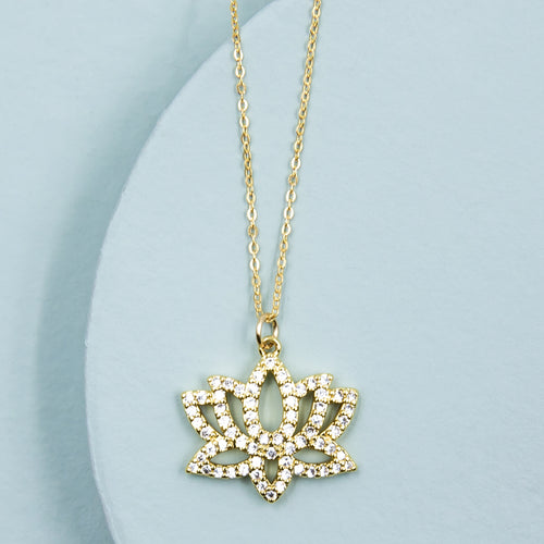 Shimmering Lotus Flower Necklace