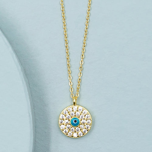cubic zirconia eveil eye enal center gold pendant chain spiritual yoga necklace