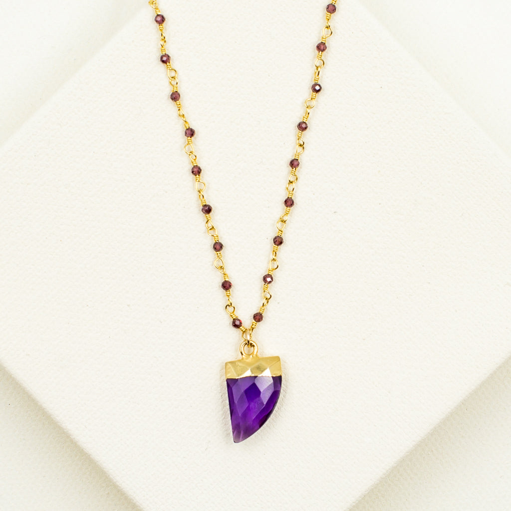 Amethyst Horn with Faceted Garnet Necklace