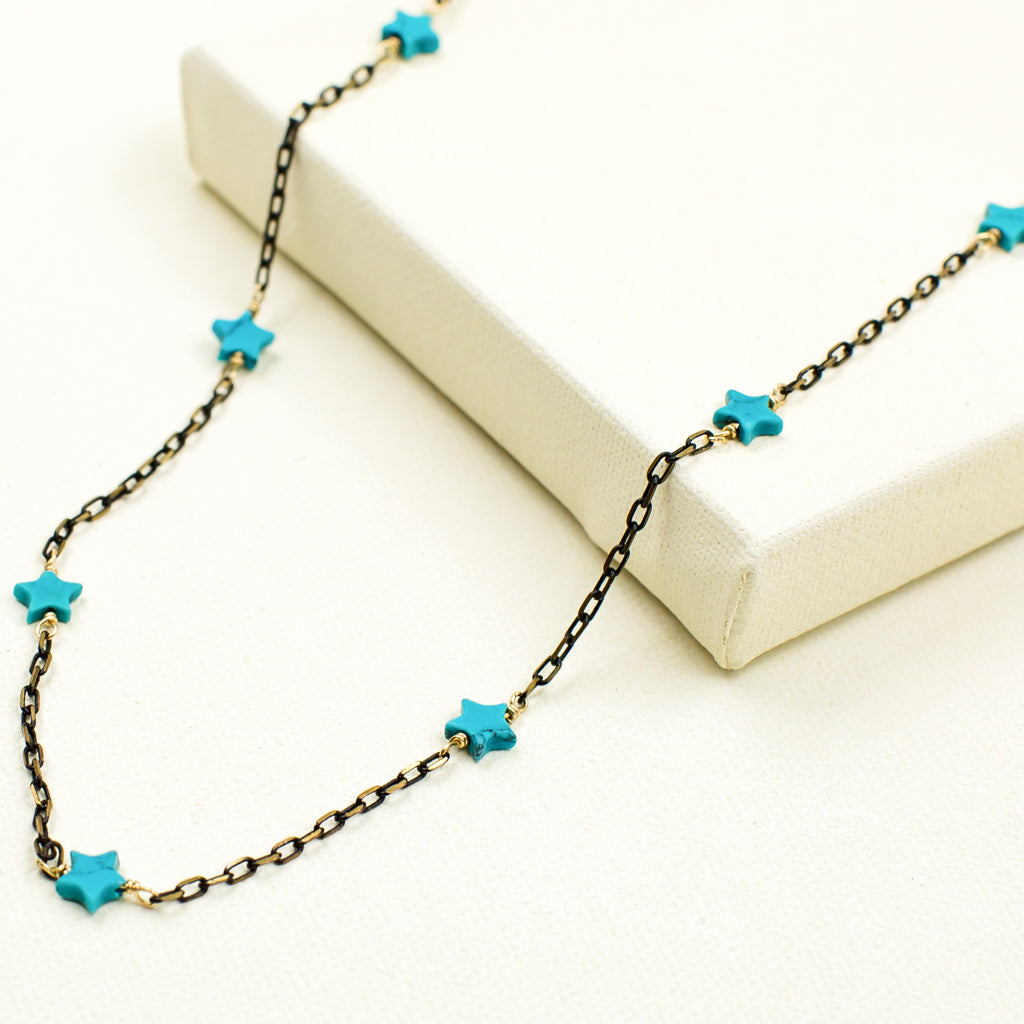 Turquoise Stars on Black & Gold Chain Necklace