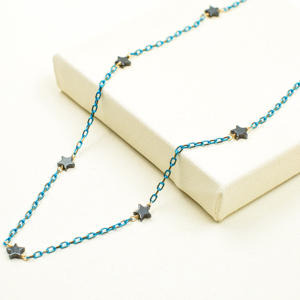 Hematite Stars on Turquoise & Gold Chain Necklace