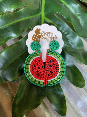 Beaded Watermelon Earrings - Preppy Pineapple