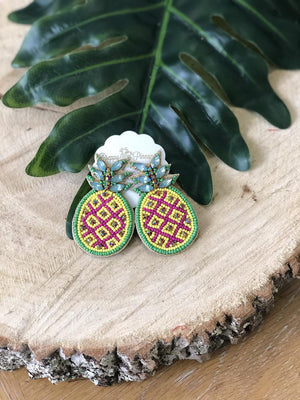Beaded Pineapple and Rhinestone Earrings - Preppy Pineapple