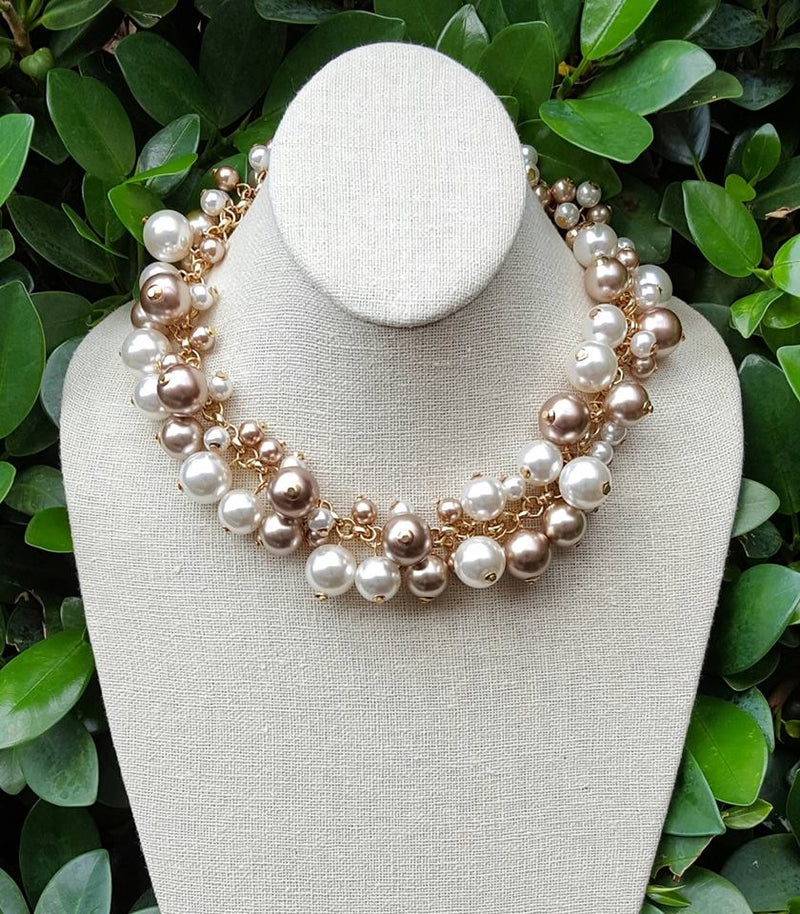 Molly Champagne Pink Pearl Necklace - Preppy Pineapple