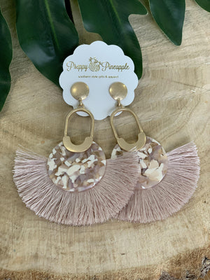 Acrylic Disc & Fan Tassel Oval Earrings - Preppy Pineapple