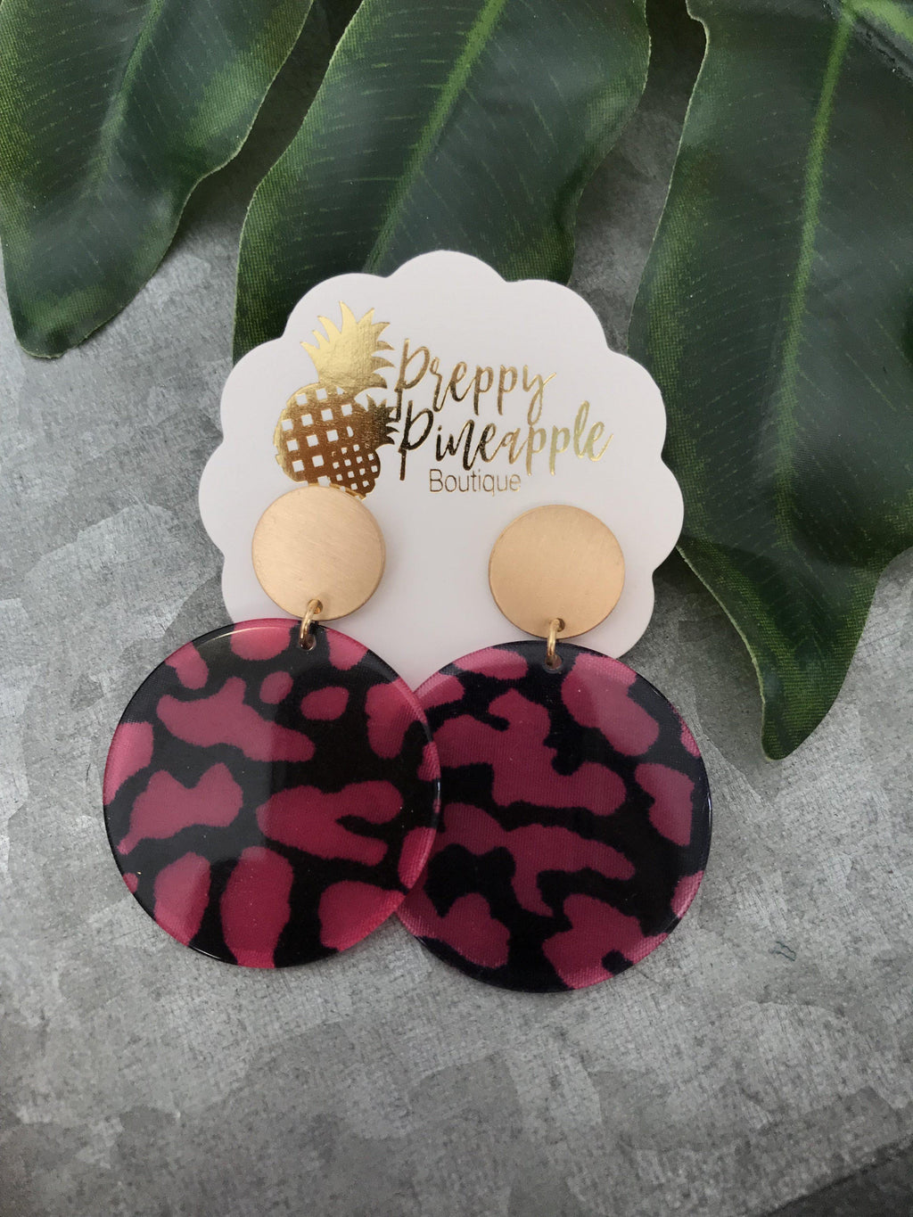 Acrylic Leopard Disc Earrings - Preppy Pineapple