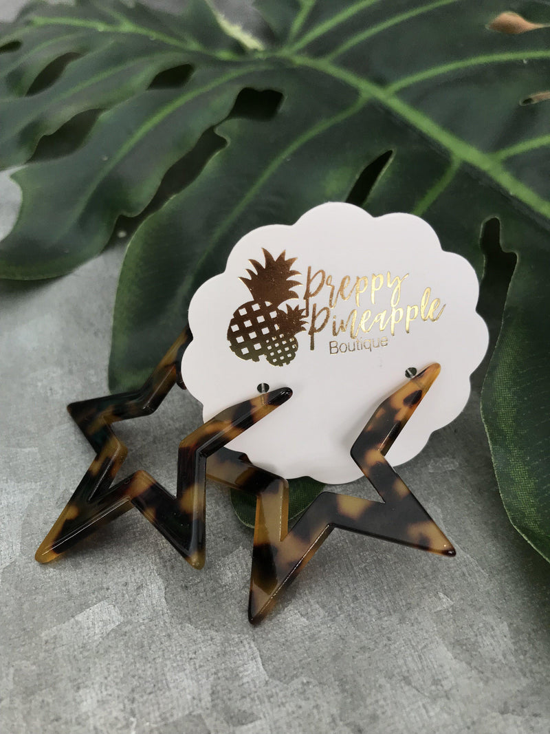 Acrylic Star Open Hoops - Preppy Pineapple