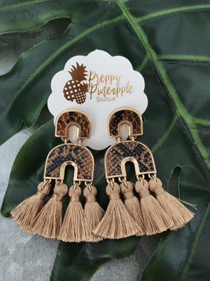 Arch Leather & Tassel Earrings - Preppy Pineapple