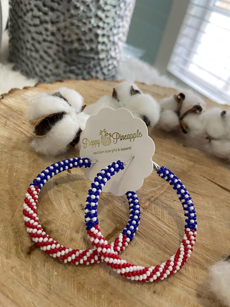 Golden Stella | Bead USA Flag Hoops | - Preppy Pineapple Boutique