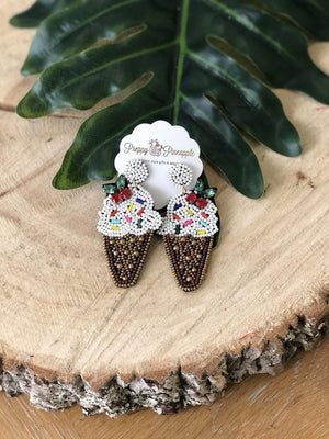 Golden Stella | Beaded Ice Cream Cone Earrings | - Preppy Pineapple Boutique
