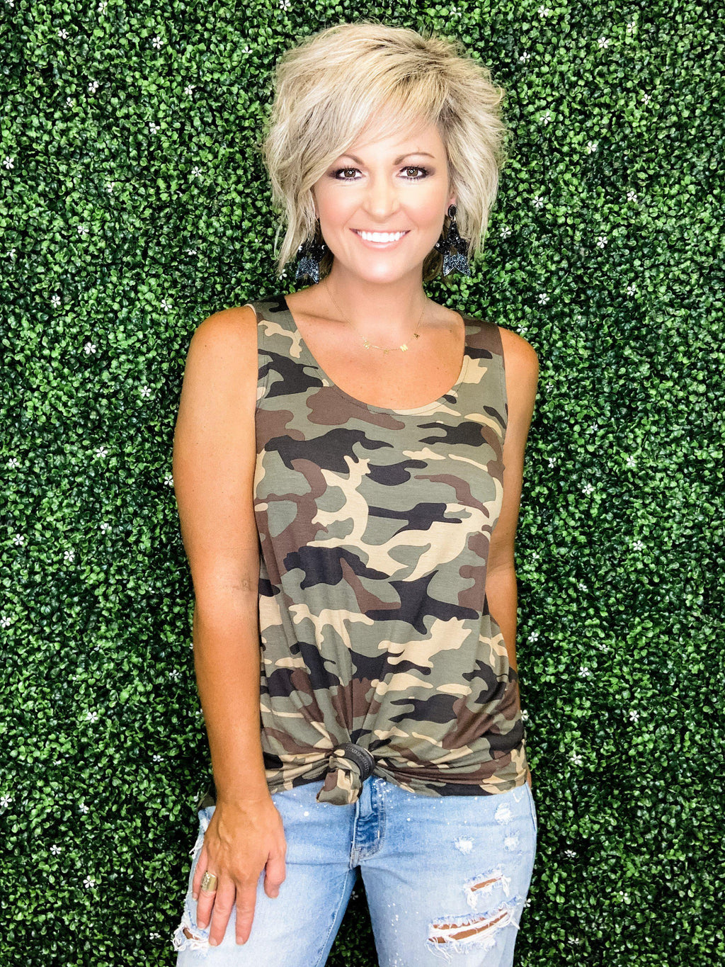 Camo Scoop Neck Tank Top - Preppy Pineapple
