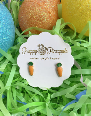 Carrot Stud Earrings - Preppy Pineapple