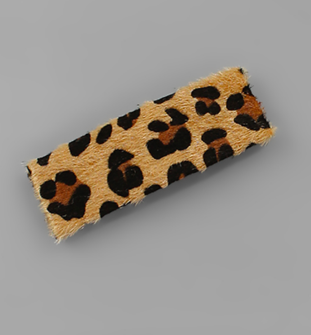 Cowhide Leopard Hair Pin - Preppy Pineapple