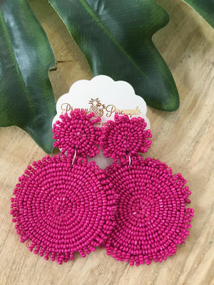 Preppy Pineapple Boutique | Double Beaded Disc Earrings | - Preppy Pineapple Boutique