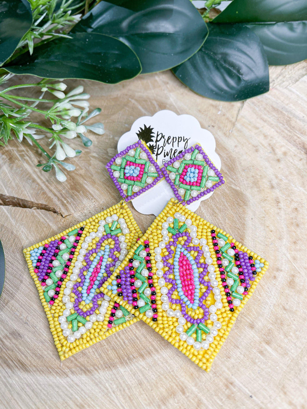 Double Rhombus Beaded Earrings