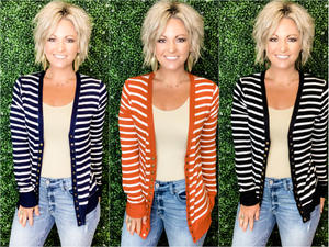 Ellison Striped Snap Cardigan - Preppy Pineapple