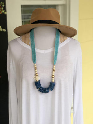Fabric Strap Necklace W/ Boho Beads - Preppy Pineapple