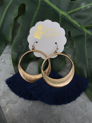 Fan Tassel Circle Earrings - Preppy Pineapple