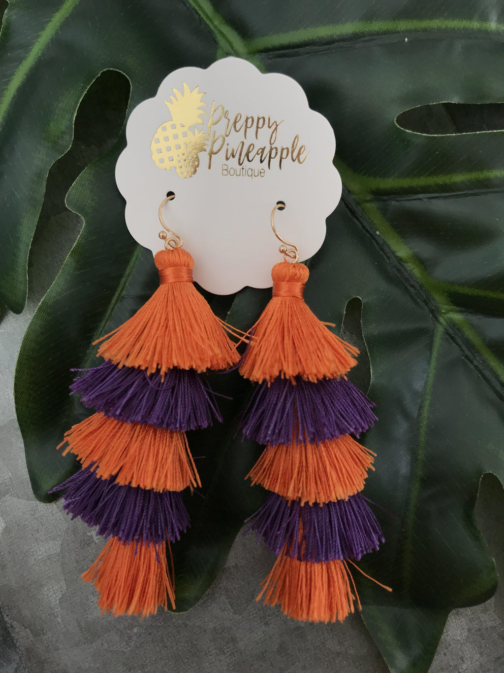 Gameday Five Layer Tassel Earrings - Preppy Pineapple