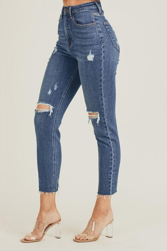 High-Waisted Distressed Skinny Jeans - Preppy Pineapple