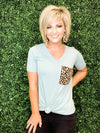 I Want it All Leopard Pocket Top - Preppy Pineapple
