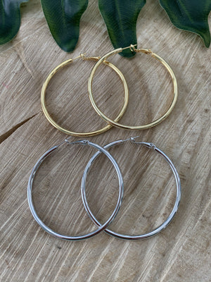 Thick Shiny Hoop Earrings - Preppy Pineapple