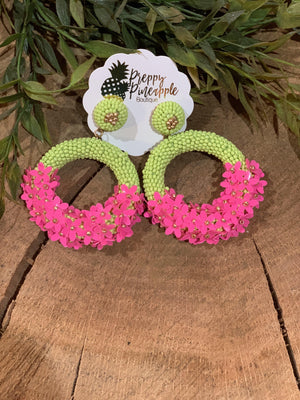 Half Flower Bead Circle Earrings - Preppy Pineapple