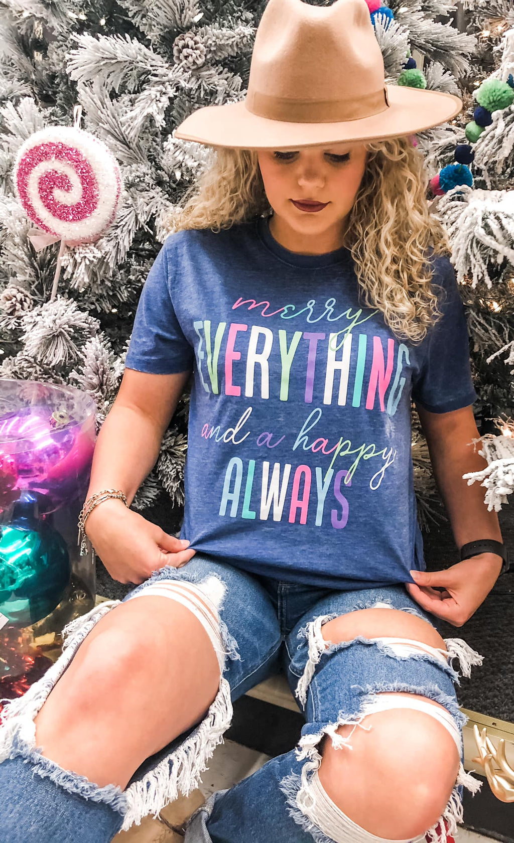 Merry Everything and Happy Always Tee - Preppy Pineapple
