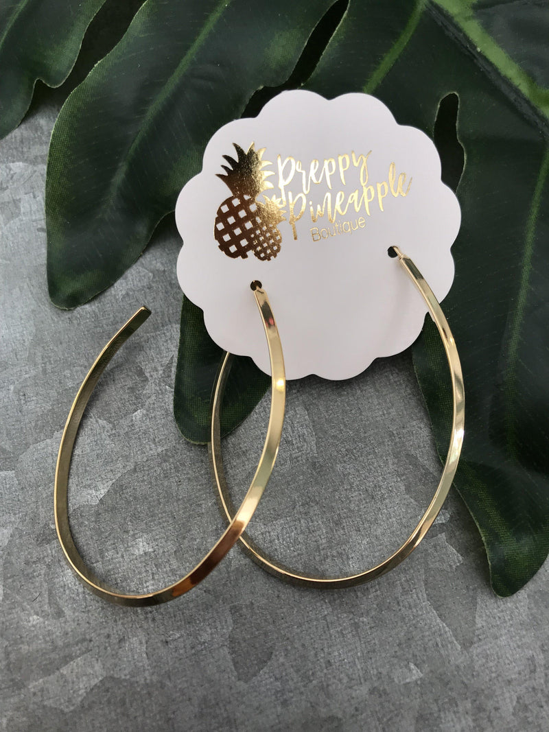 Oval Open Hoops - Preppy Pineapple