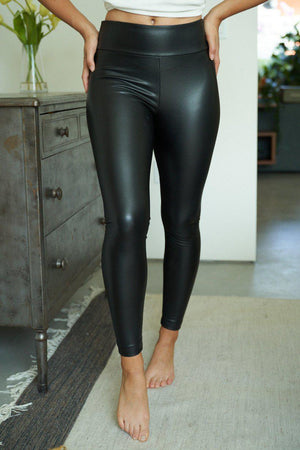 Perfect Little Black Faux Leather Leggings - Preppy Pineapple