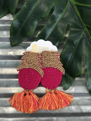 Pineapple Tassel Earrings - Preppy Pineapple