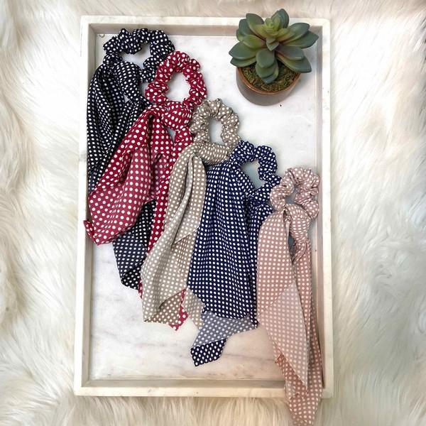 Polka Dot Hair Tie Scrunchie - Preppy Pineapple